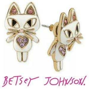 Betsey Johnson Mini Critters Kitty Earring Jackets